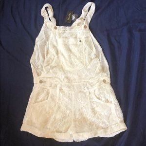 Miss Me Cream Colored Lace Overalls NWT Size M